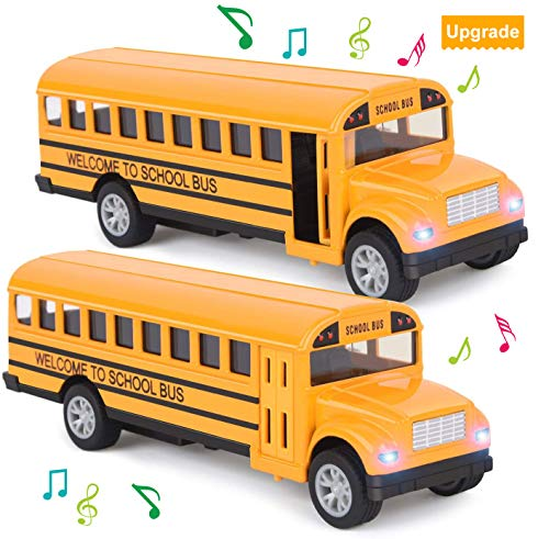 Think Wing School Bus Toy for Toddlers - 5 Inch 2 Set Die-cast Play Vehicles Pull Back Car Yellow School Bus Toys Gift for Kids with Lights Sounds and Openable Doors