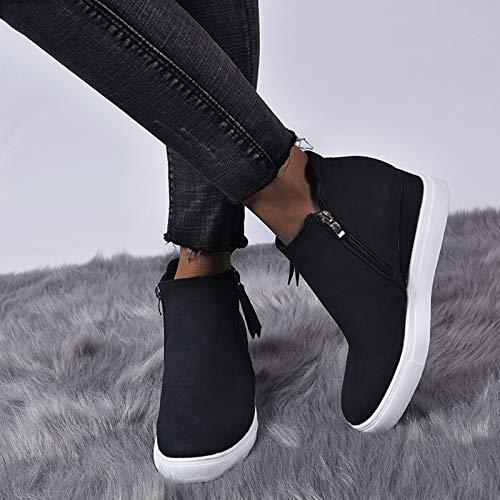 XHHXPY Zapatillas De Deporte Mujer Transpirables Plataforma Ligero Zapatillas de Lona Retro Botas Otoño e Invierno Zapatos de cuña Talla 35-43,Negro,36