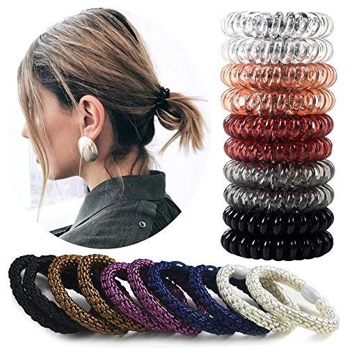 Spiral Hair Ties for Women Girls,Coil Hair Ties,Elastic Hair Tie,Phone Cord Hair Ties,Ponytail Holder,No Crease Coils,Plastic Hair Ties for Any Kind of Hair,20Pcs/Set,Assorted Color