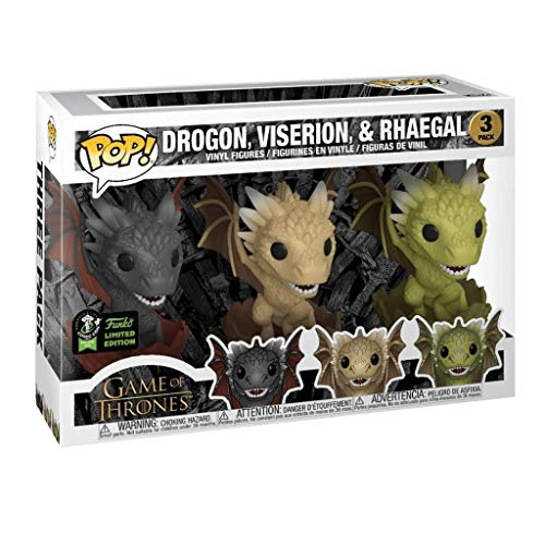 Nologo YYBB POP TV: 3 Pack - Game of Thrones - Drachen Schlüpfen (Drogon, Viserion & Rhaegal) Action Figure Boxed Ornaments Game of Thrones Geschenke Sammler Abbildung 3.9 inches Figurines