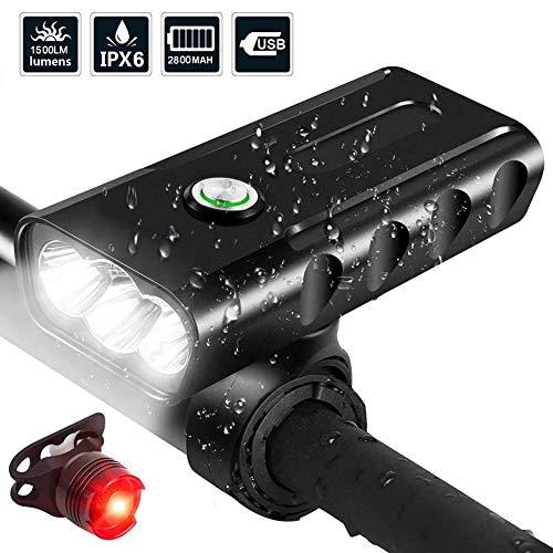 Afaneep Luz Bicicleta, Luz Bici LED Recargable USB con 1500 Lúmenes Super Brillante 3 LED Linterna Bicicleta 3 Modos 5200mAh IPX6 Impermeable Luces Bicicleta para Montar en Carretera y Montaña