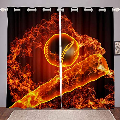 Baseball Curtains Skateboard Window Curtains for Bedroom Living Room for Kids Boys Girls 3D Burning Ball Window Drapes Extreme Sports Design Window Treatments,W46*L72