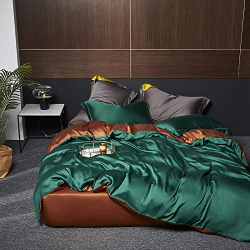 Homehold Sheets Set,Spring and summer new 60 solid color tencel four-piece set simple double-sided silk slip comfort quilt cover bed linen-Emerald green_2.0 meters