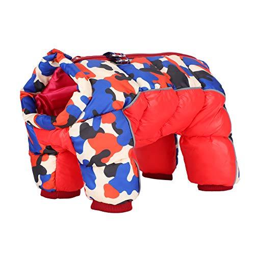 Ropa de Abrigo para Mascotas, diseño de nervaduras de Cuatro Patas, Traje de Vacaciones Grueso para Mascotas, Camuflaje Rojo a Prueba de Viento para Perros(14#)