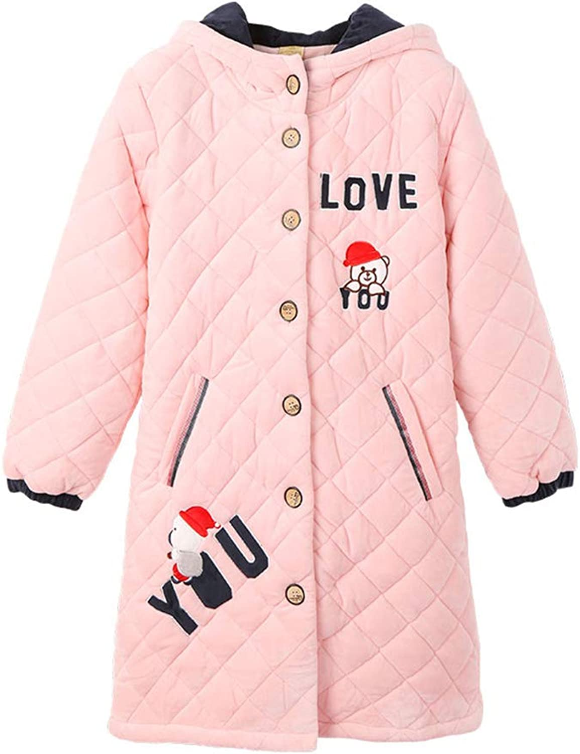 Pajamas Women's Thick Coral Fleece Quilted Gowns Cotton Jacket Sexy Cardigan Home Service Bathrobe (color   Yellow, Size   L)