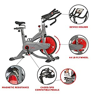 Sunny Health & Fitness AeroPro Indoor Cycling Exercise Bike with 44 LB Flywheel and Magnetic Resistance - SF-B1711, Grey