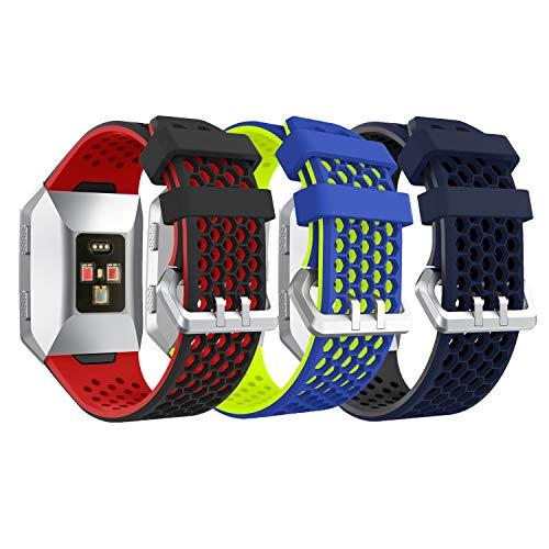 YaYuu Fitbit Ionic Armband, Ersatz Uhrenarmbänd Strap Weiches Silikon Sportarmband Erstatzband kompatibel für Fitbit Ionic Fitness Smart Watch (A, 3 Stück)