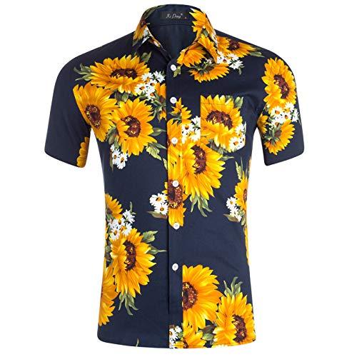 Camisas de Manga Corta para Hombres Camisas de impresión de Tendencias Personalizadas de Gran tamaño Europeas y Americanas Camisas de Playa Hawaianas S