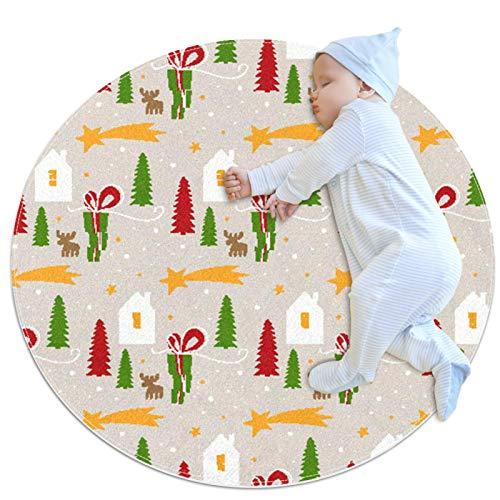 DEDEF Alfombra de juego redonda para niños con diseño de Navidad