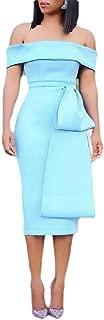 Women's Off Shoulder Sweetheart Neck Slit Belt Bodycon Party Midi Dress