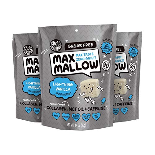 Know Brainer Max Mallow Lightning Vanilla | Guilt-Free & Zero Sugar Marshmallow - Low Carb, Gluten Free & Ketogenic | Marshmallow Fueled with Collagen, MCT Oil & caffeine| Pack of 3 (9.9oz)