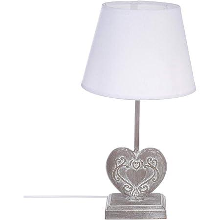 Atmosphera - Lampe à Poser Coeur Pied en Bois H 49 cm Style Romance