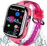 iGeeKid Kids Smart Watch Phone-IP67 Waterproof Smartwatch Boys Girls Toddler Digital Wrist Watch 1.44' Full Touch Calls,Camera,Gizmos Games,Alarm,12/24 Hr Learning Toys Easter Basket Stuffers (Pink)