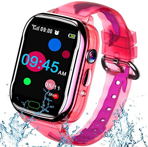 iGeeKid Kids Smart Watch Phone-IP67 Waterproof Smartwatch Boys Girls Toddler Digital Wrist Watch 1.44'' IPS Touch,Calls,Camera Gizmos Games,12/24 Hr Stopwatch Calculator Alarm Learning Toys (Pink)