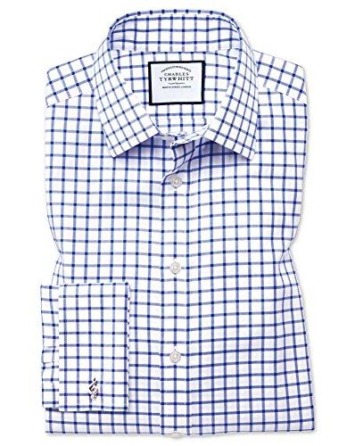 Charles Tyrwhitt Bügelfreies Twill Hemd mit Kent-Kragen und Gitterkaros - Königsblau Umschlagmanschette