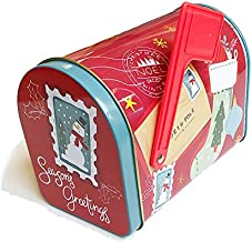 Christmas Cookie Tins with Lids for Gift Giving Empty Candy Snack Pastry Treat Swap Boxes Cerebrate a Holiday Goodies Party Favors Mailbox Shape Metal Small Containers Season's Greetings Red