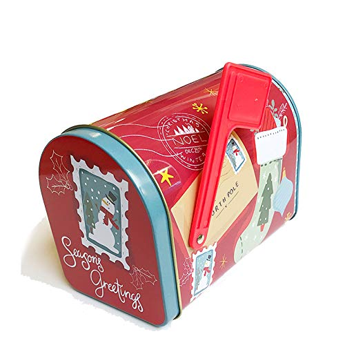 Christmas Cookie Tins with Lids for Gift Giving Empty Candy Snack Pastry Treat Swap Boxes Cerebrate a Holiday Goodies Party Favors Mailbox Shape Metal Small Containers Seasons Greetings Red