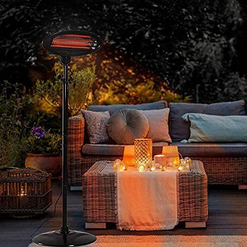 LIUNA Freestanding Patio Heater Garden Lamp, Adjustable Heat Angle And Height, Outdoor 2KW Quartz Electric Heater