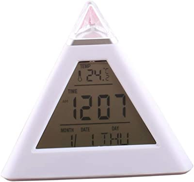 GREA Productos electrónicos de Reloj Pirámide LED Cambio de Color Reloj Despertador Hogar Creativo Reloj Digital