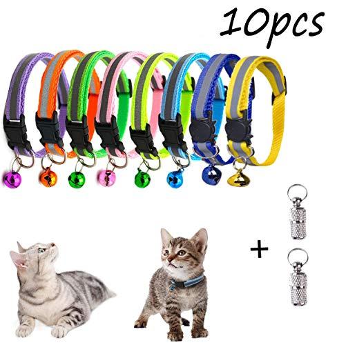Unique Store Katzenhalsband, Katzenhalsband mit Glöckchen, reflektierend, verstellbar, fluoreszierend, Schnellverschluss, geeignet für die meisten Hauskatzen