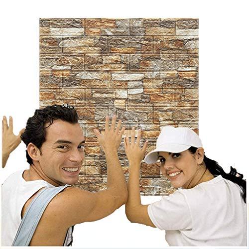 Chunse 10 Paquete 3D Paneles de Pared Removibles Piedra Faux Ladrillo Decorativo PE Espuma Autoadhesivo Fondo de Pantalla Decoración de Pared extraíble,Beige
