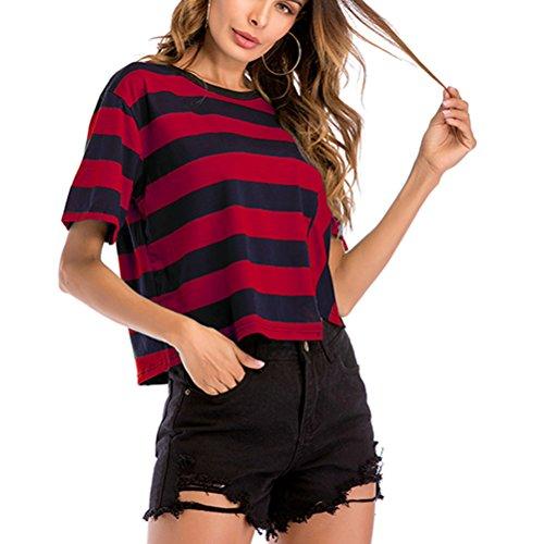 OULII Femmes d'été Lâche T-Shirt imprimé Rayé Tops de Mode avec Ourlet irrégulier Manches Courtes - Rouge (XXL)
