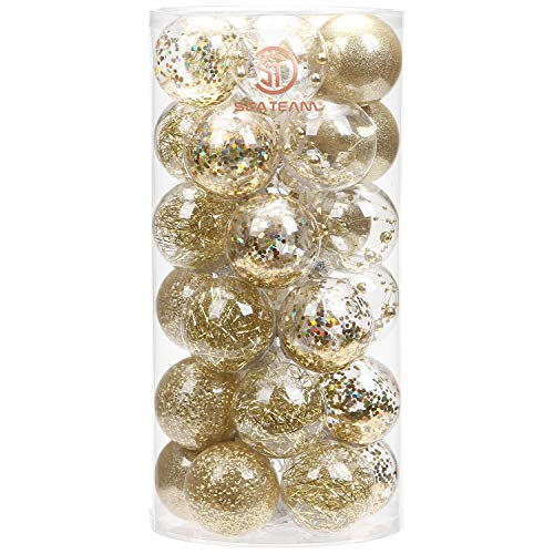 Sea Team 60mm/2.36' Shatterproof Clear Plastic Christmas Ball Ornaments Decorative Xmas Balls Baubles Set with Stuffed Delicate Decorations (30 Counts, Gold)