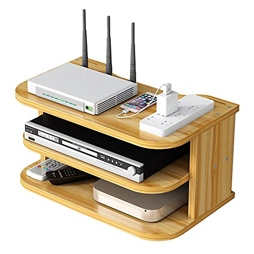 Hggzeg WiFi Router Storage Box Floating Shelves TV Set-Top Rack, Wall-Mounted Multi-Layer Cable Management Storage Shelf for Wall Decoration (Cherry Wood)