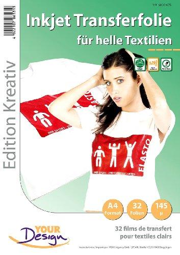 Your Design T Shirt Folien: 32 T-Shirt Transferfolien für weiße Textilien A4 Inkjet (t Shirt Bügelfolie)