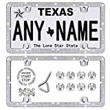 Newzon 4 Holes Rhinestone License Plate Frames Sparkly Diamond License Plate Frame Bling Car Licence Plate Covers for Women Funny 2 PCS Stainless Steel Car Tag Frame with Screw Cap Set