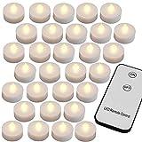Monzana Set de 30 velas LED con Mando a distancia Luz blanca cálida con pilas Velas de té parpadeantes Decoración Fiestas