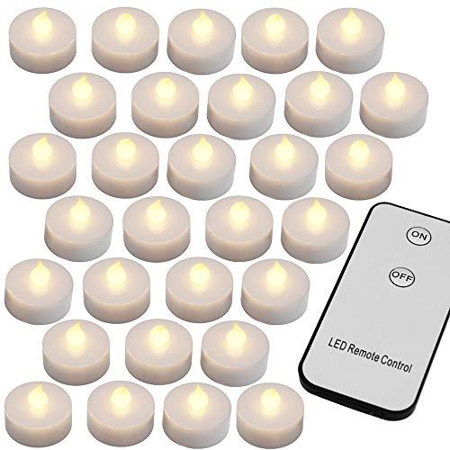 Monzana 30 LED Teelichter mit Fernbedienung Flackernde Batteriebetriebene Kerzen inkl Batterie Warmweiß 3,7cm Elektrisch