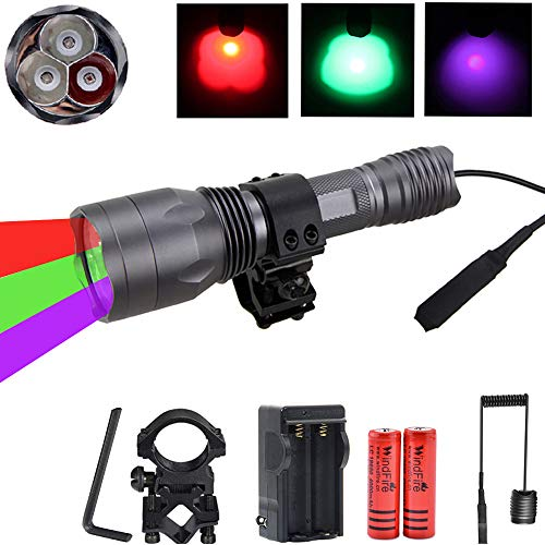 WINDFIRE Red Green Hunting Lights Blood Tracking Light Mule Deer Pet Urine Detector UV Flashlight 3 in 1 Coyotes Predator Varmints Night Hunting Light with Barrel Mount,Remote Pressure Switch,Battery