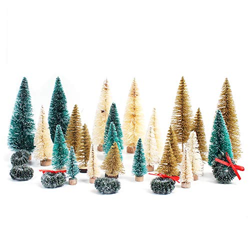 NONR 30pcs Artificial Assorted Pine Trees Bottle Brush Sisal Trees for Christmas Table Top Decoration Ornaments Miniature Winter Wonderland Creating Supply