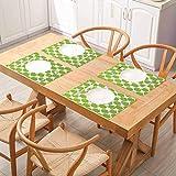 3D - Juego de 6 manteles individuales antideslizantes impermeables para mesa (dibujo abstracto de Granny Smith, siluetas, huerto produce, dieta frutariana, color verde