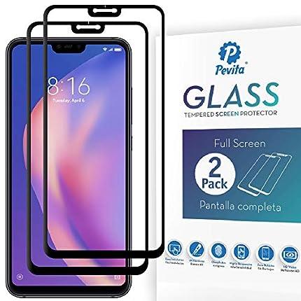 Pevita Protector de Pantalla Xiaomi Mi 8 Lite. [2 Packs]. Full Screen. Dureza 9H, Sin Burbujas, Fácil Instalación. Protector de Pantalla de Cristal Templado Premium para Xiaomi Mi8 Lite