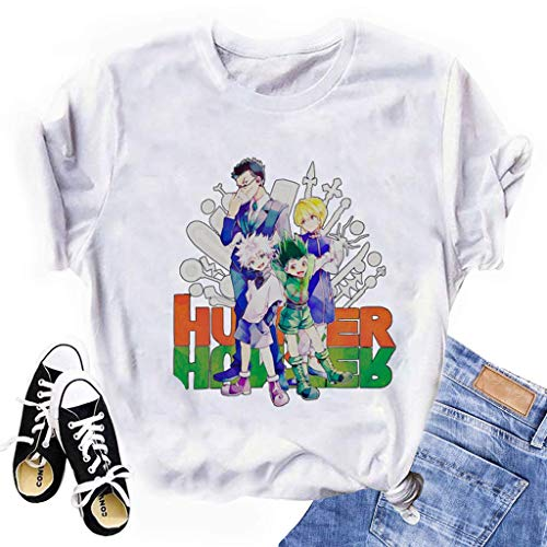 Yesgirl Hunter X Hunter - Camiseta de manga corta para mujer y adolescente Gon Killua Baka Kurapika Leorio G blanco. M