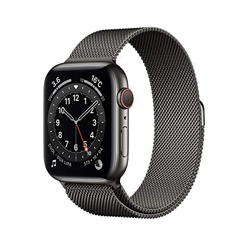 最新 AppleWatch Series 6(GPS + Cellularモデル)- 44mmグラファイトステンレススチールケースとグラファ...