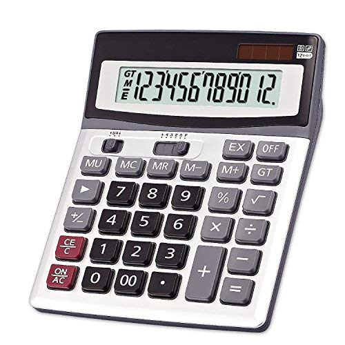 OFFIDIX Large Key Calculators Office Desktop Calculator, Dual Power Electronic Calculator Portable 12 Digit Large LCD Display Calculator Desk Calculator for Handheld for Daily and Basic Office