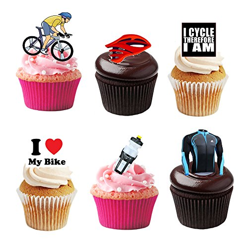 36 Stand Up Cycling Bike Bicycle Themed Premium Edible Wafer Paper Cake Toppers