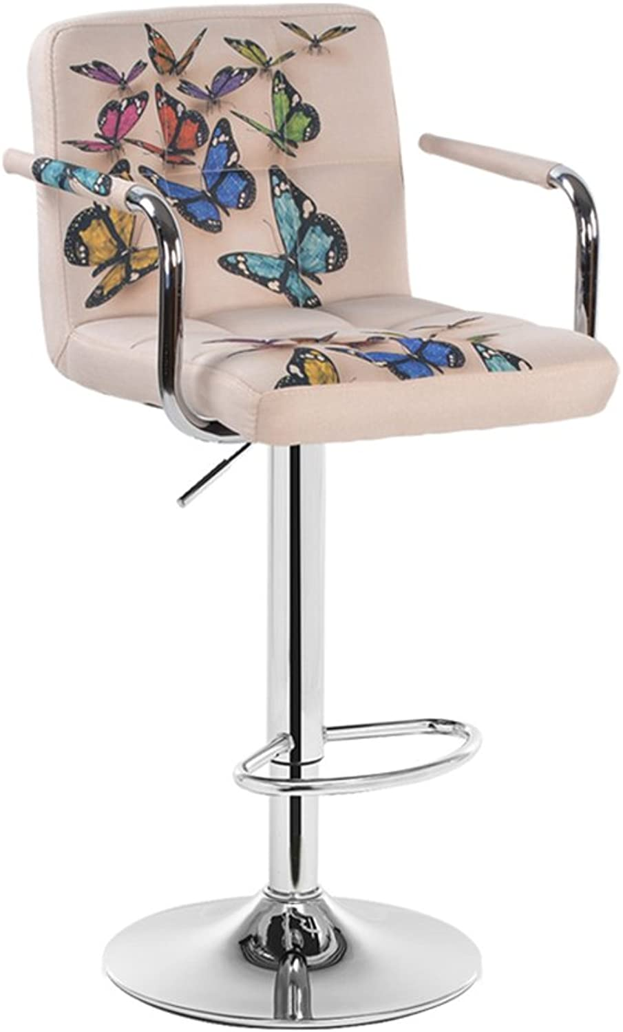 LHA Barstools Bar Chair Backrest Height Adjustable - Butterfly Decoration Bar Furniture