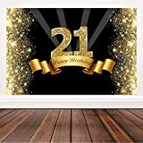 Glitter Black and Gold 21st Birthday Backdrop 21 Years Old Birthday Party Decorations Background Happy Birthday Photography Backdrops Banner 6x4ft