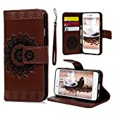iPhone 6S 6 Wallet Case 4.7 inch, YOKIRIN PU Leather Henna Mandala 3D Relief Floral Embossed Folio Flip Full Protective Cover with Credit Card Holder Kickstand Magnetic Closure for iPhone 6 6S, Brown