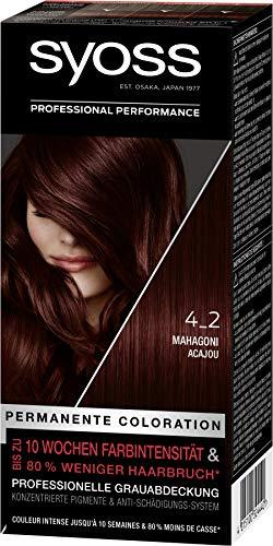 Syoss Coloration Stufe 3 4_2 Mahagoni, bis zu 10 Wochen Farbintensität, 3er Pack(3 x 115 ml) SS420