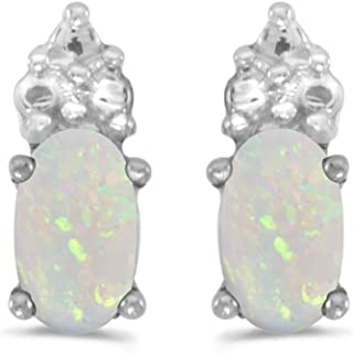 10K White Gold .16 ct Oval Opal 5x3mm Gemstone Unique Shape Petite Stud Earrings for Women and Girls