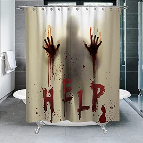 Shower Curtain,Halloween Shower Curtain,Scary Bloody Shower Curtain Sets with Hooks, Bathroom Decor with Hooks,71″ W x 71″ H (180CM x 180CM)