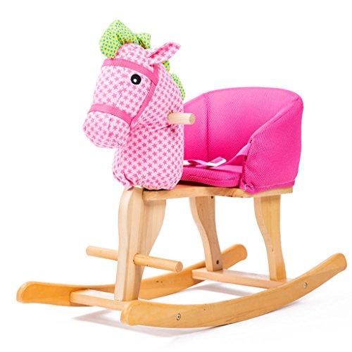 Cheval à bascule simple Assemblée solide en bois musique chaise berçante de 1-5 ans bébé enfant jouet cadeau -LI JING SHOP (Couleur : Pink)