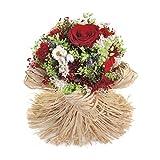 Bouquet Raffia-Sanremo flores secas de la Riviera dei Fiori Italia con rosa estabilizada (Rojo)