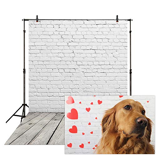 Allenjoy 5x7ft Vinyl White Brick Wall with Gray Wooden Floor Photography Backdrops for Baby Birthday Newborn Cake Smash Product Photoshoot Portrait Photo Background Photographer Props