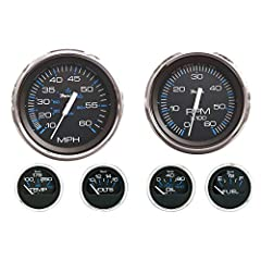 Perimeter-Lighted black dial Stylish blue and black graphics tachometer (6000 rpm) Voltometer (10-16 VDC) water temperature (100-250 f) oil psi (80 psi) fuel level